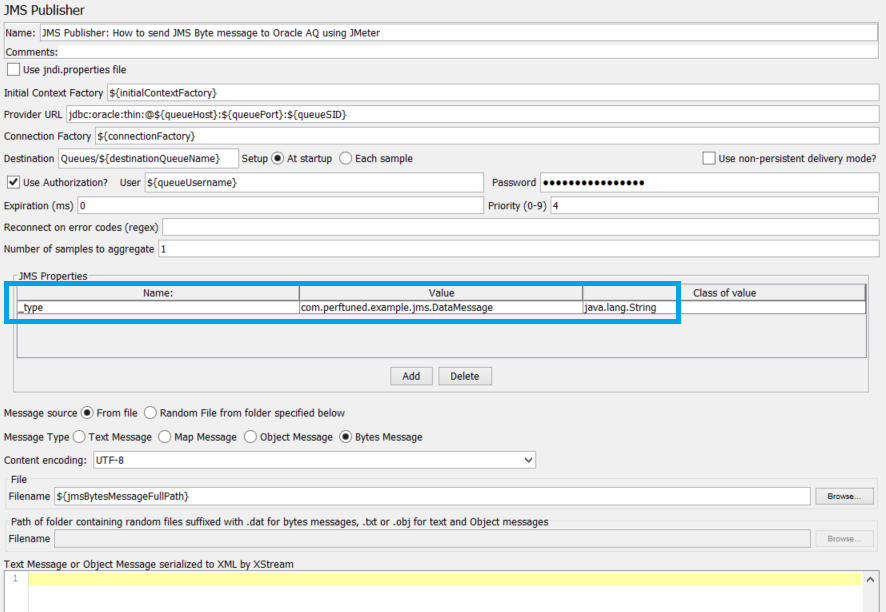 How to send JMS Byte message to Oracle AQ using JMeter